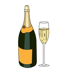 Bottle of a sparkling wine and glass of champagne vector