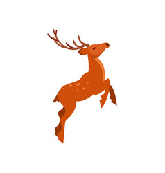 Brown spotted deer with antlers jumping wild vector