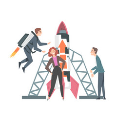 business people launching space rocket into the vector image