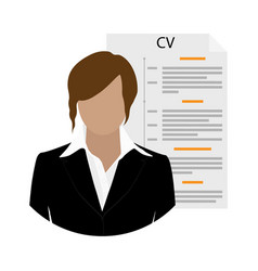 businesswoman woman character with cv or resume vector image