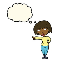 Cartoon annoyed woman pointing with thought bubble vector