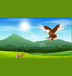 Cartoon eagle pouncing on snakes vector