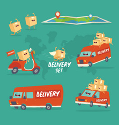 cheerful set delivery services red gamma vector image