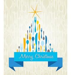Christmas Tree Cutlery card vector image