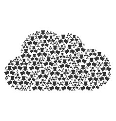 Cloud mosaic of shrink arrows icons vector