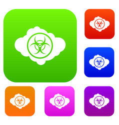Cloud with biohazard symbol set collection vector