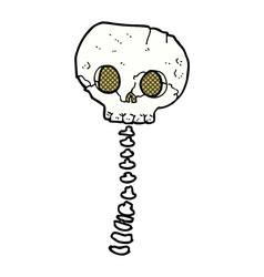 comic cartoon spooky skull and spine vector image