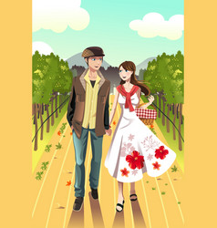 Couple walking in a winery vector