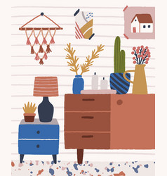 Cozy room interior with wooden chest drawers vector