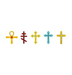cross icon set flat style vector image