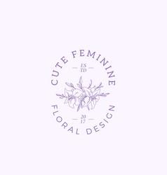 cute feminine sign symbol or logo template vector image