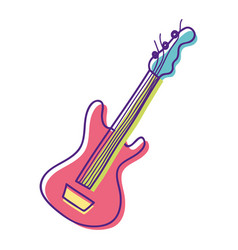 Cute guitar play music instruments vector