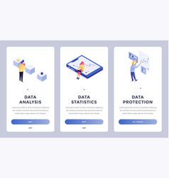 Data isometric landing page vector