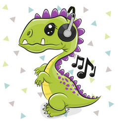 dinosaur with headphones isolated on a white vector image