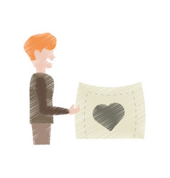 drawing man holding card heart lovely vector image
