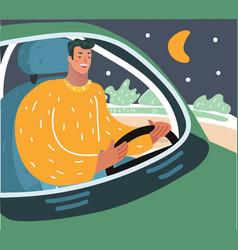 driver at nights vector image