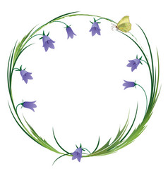 frame with butterfly and blubells vector image