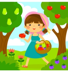 girl picking fruit vector image