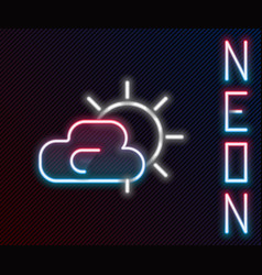 glowing neon line sun and cloud weather icon vector image
