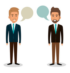 Group of businessman teamwork with speech bubbles vector