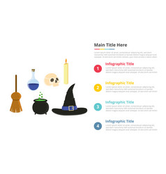 halloween objects infographics template with 4 vector image
