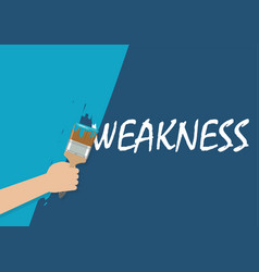 Hand painting to cover weakness vector
