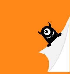 Happy halloween black monster face holding fold vector