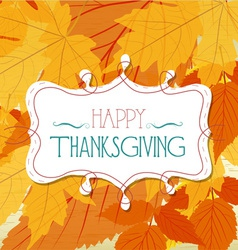 Happy thankgiving with leaves greeting card vector