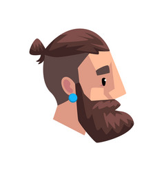 head of young bearded man with tail profile of vector image