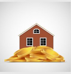 House stands on a pile of gold coins real estate vector