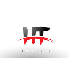 ht h t brush logo letters with red and black vector image