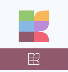 K letter logo made pattern blocks with pretty vector