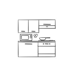 kitchen interior and appliances hand drawn outline vector image