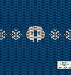 Knitted pattern card with funny sheep vector