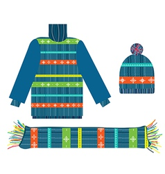 Knitted sweater scarf and hat for Christmas vector image
