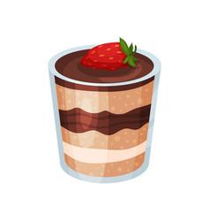 Layered chocolate dessert panna cotta or vanilla vector