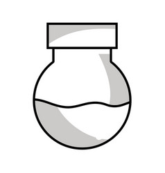 Line erlenmeyer flask to scientific experiment lab vector