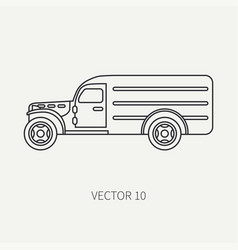 Line flat plain icon service staff army van vector