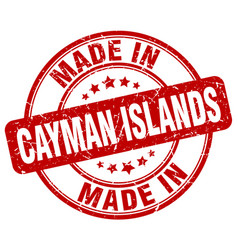 Made in cayman islands red grunge round stamp vector