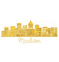 Madison city skyline golden silhouette vector