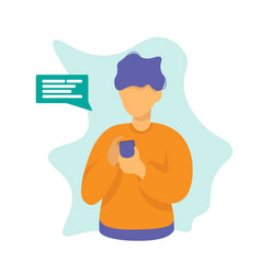 man with phone chat concept design vector image
