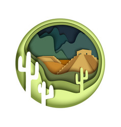 mexico in paper art style vector image