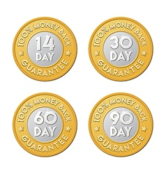 Money back guarantee label coins vector