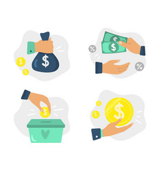 Money in hands finance investments donate vector