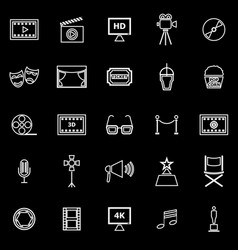 Movie line icons on black background vector