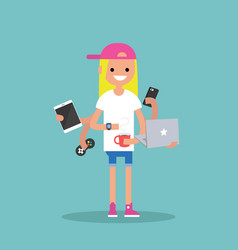 Multitasking millennial concept young blond girl vector
