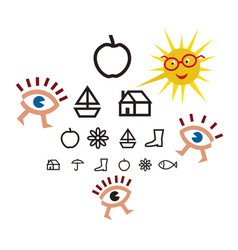 Optometry test for children vector