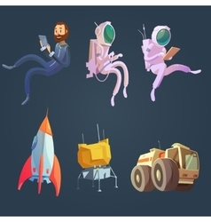 Outer Space Cartoon Set vector