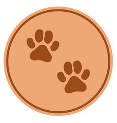Paw footprints bronze coin vector