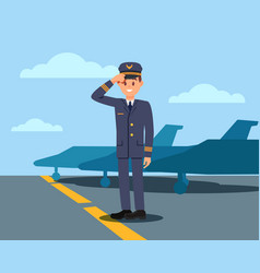 pilot standing on aerodrome and holding hat by vector image